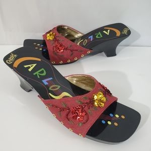 Carlos By Carlos Santana Red Floral Sequin Sandals